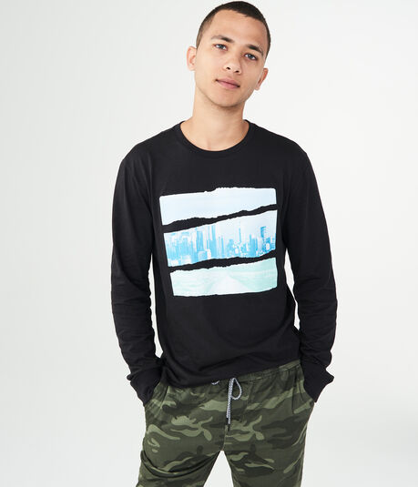 Long Sleeve Torn City Graphic Tee