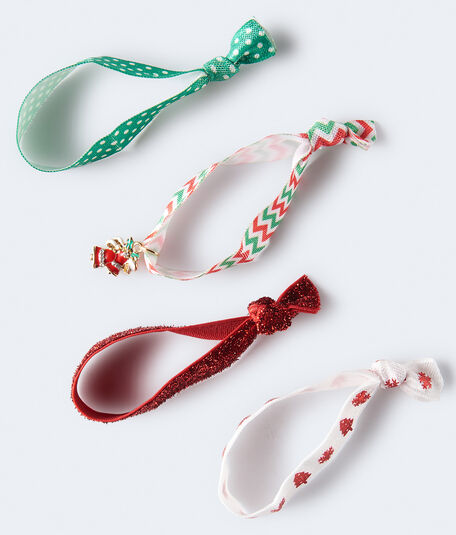 Christmas Tree Seasonal Hair Tie 4-Pack