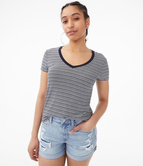 Seriously Soft Striped V-Neck Tee