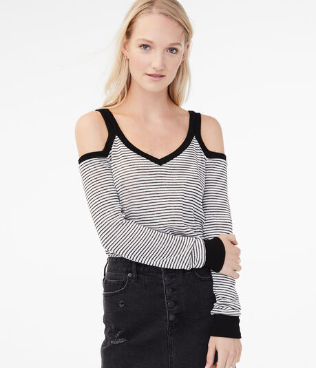 Striped Cold-Shoulder Sweater