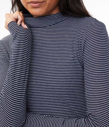 Long Sleeve Seriously Soft Striped Mock-Neck Tee