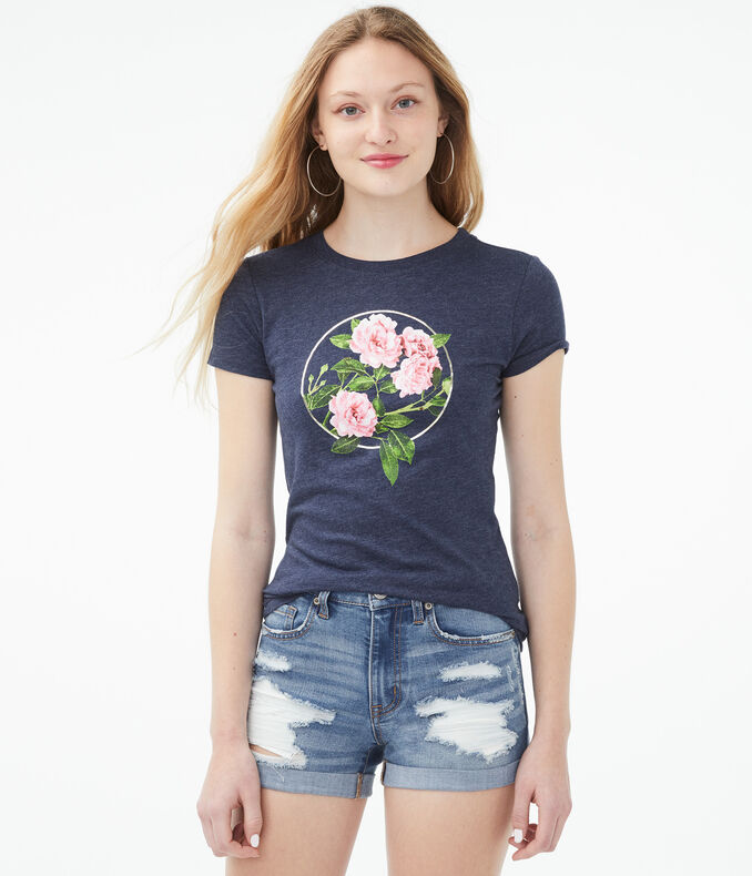 Floral Foil Circle Graphic Tee