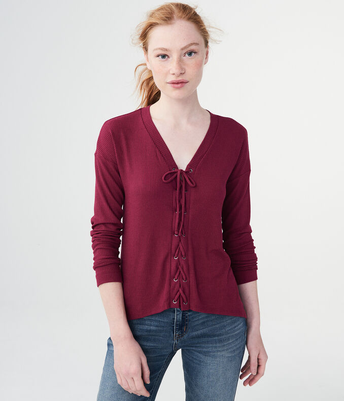 Long Sleeve Solid Lace-Up V-Neck Tee