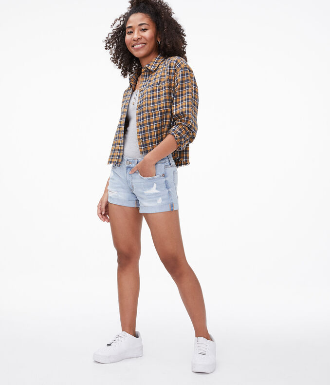 Seriously Stretchy Low-Rise Denim Midi Shorts