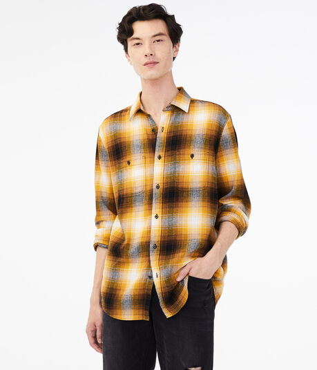 Long Sleeve Blurred Plaid Button-Down Shirt
