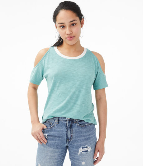 Ringer Cold-Shoulder Crew Tee