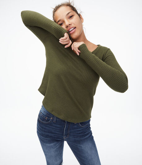 Long Sleeve Seriously Soft Fuzzy V-Neck Tee