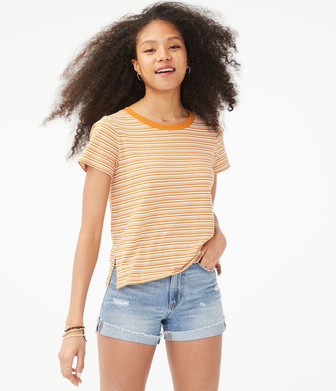 Perfect Cotton Striped Crew Tee