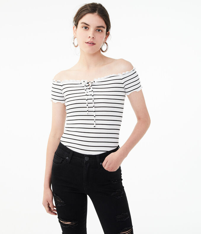 Seriously Soft Lace-Up Off-The-Shoulder Bodycon Top