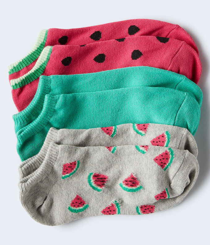 3-Pack Watermelons & Solid Ankle Socks***