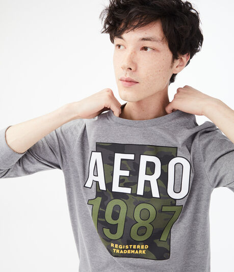 Long Sleeve Aero Camo Trademark Graphic Tee***