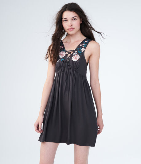 Solid Lace-Up Embroidered Fit & Flare Dress