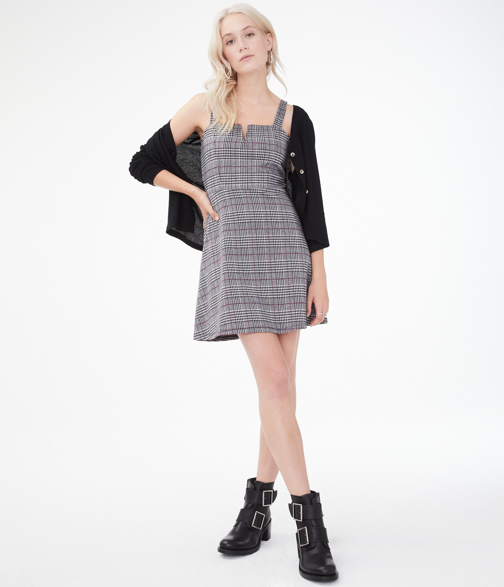 Houndstooth V Wire Fit Amp Flare Dress