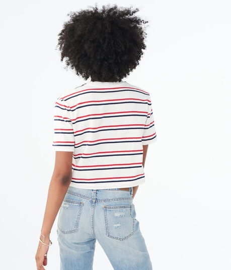 Striped '80s Boxy Crop Tee