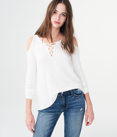Long Sleeve Lace-Up Cold-Shoulder Top