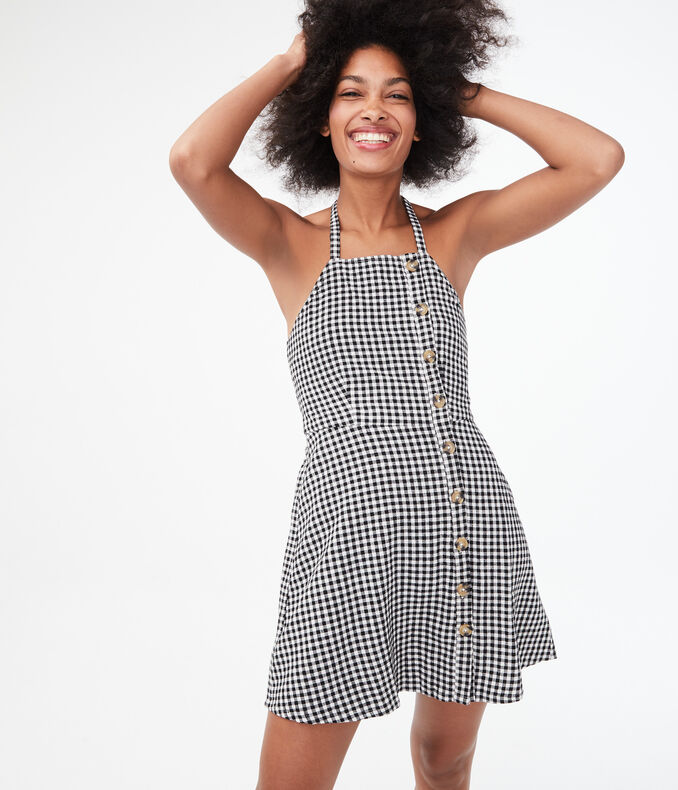 Gingham Halter Fit & Flare Dress