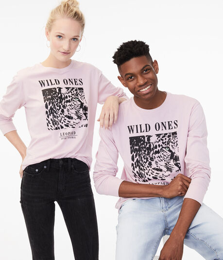 Long Sleeve Leopard Spirit Animal Graphic Tee