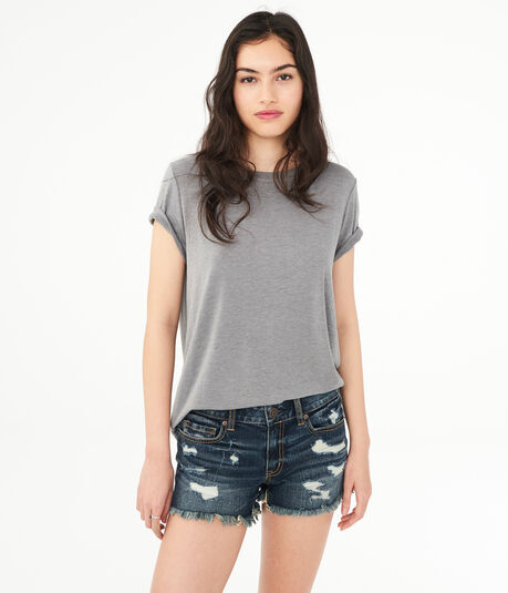 Destroyed Denim Midi Shorts