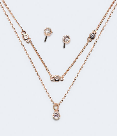 Cubic Zirconia Choker Necklace & Stud Earring Set