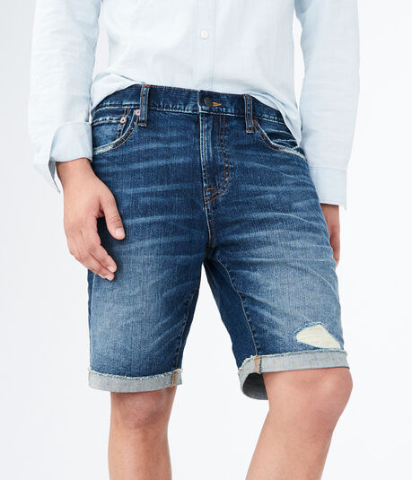 Medium Wash Cuffed Stretch Denim Shorts