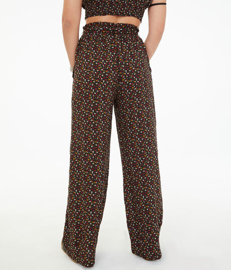 High-Rise Floral Wide-Leg Pants