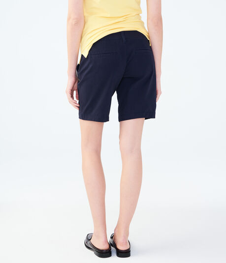 Curvy Solid Bermuda Uniform Shorts***