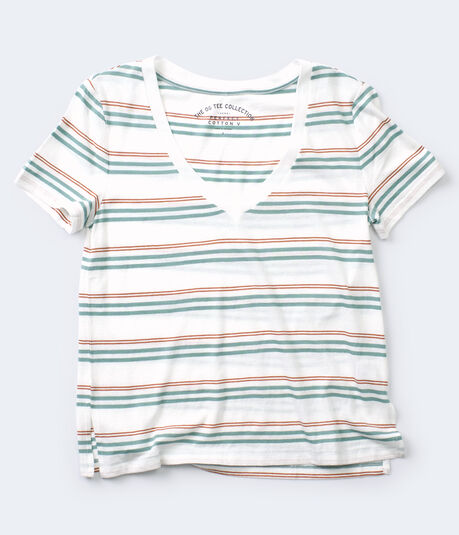 Perfect Cotton Striped V-Neck Tee