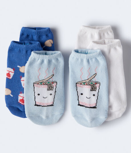 3-Pack Ramen, Fortune Cookie & Solid Ankle Socks