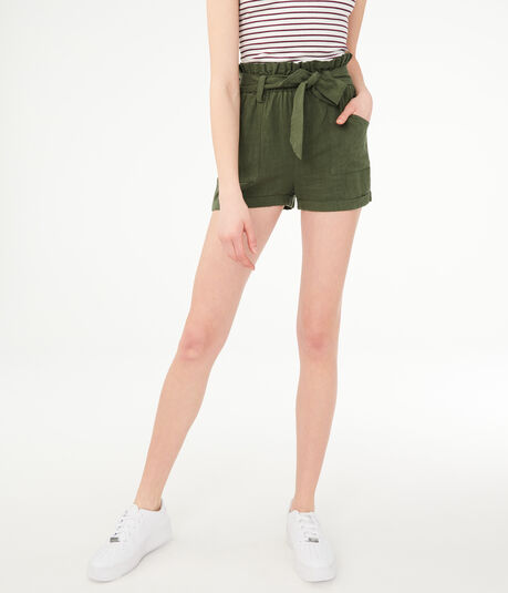 High-Waisted Paperbag Shorts