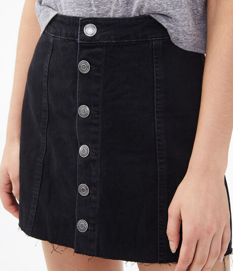 Real Denim High-Rise Button-Front Skirt***