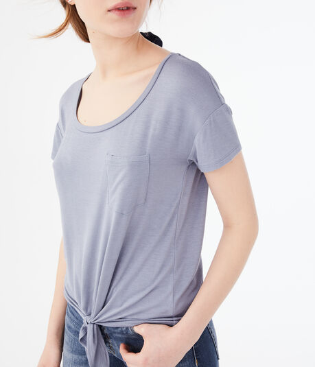 Seriously Soft Tie-Front Pocket Tee***