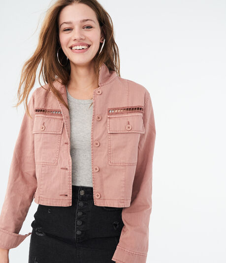 7da5ee86c2 Solid Cropped Twill Jacket Solid Cropped Twill Jacket