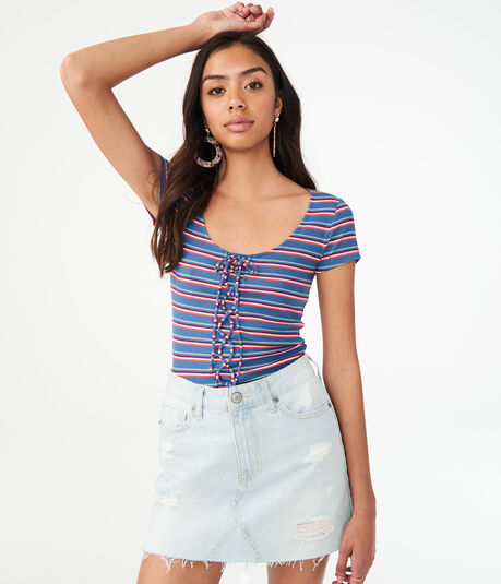 Seriously Soft Striped Lace-Up Bodycon Top