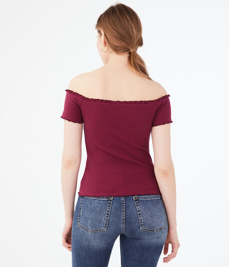 Seriously Soft Buttoned Off-The-Shoulder Top