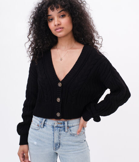 Slouchy Cable Cropped V-Neck Cardigan