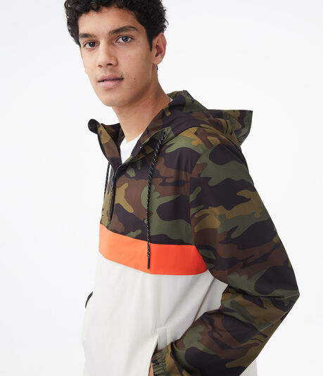 Colorblocked Camo Hooded Anorak Jacket