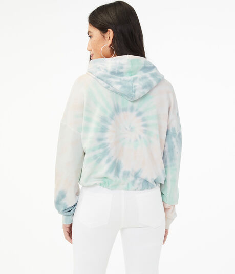 Tie-Dye Cinched Cropped Pullover Hoodie