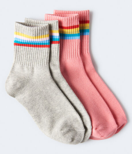 Rainbow Stripe Crew Sock 2-Pack