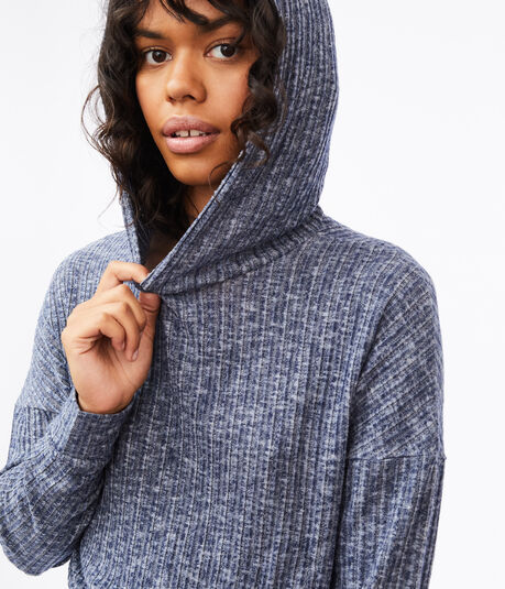 Fuzzy Ribbed Dolman Pullover Hoodie