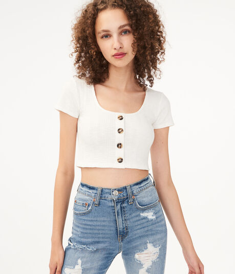 Seriously Soft Buttoned Crop Top