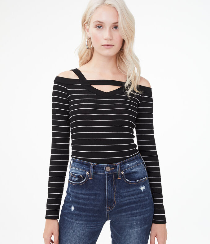 Long Sleeve Seriously Soft Striped Cold-Shoulder Bodycon Top