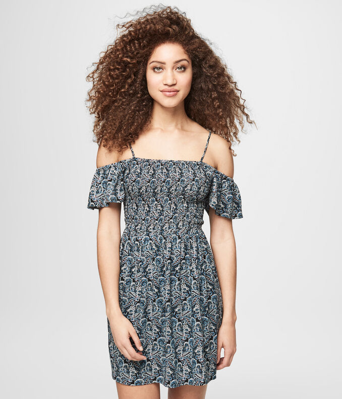 Paisley Print Off-The-Shoulder Fit & Flare Dress