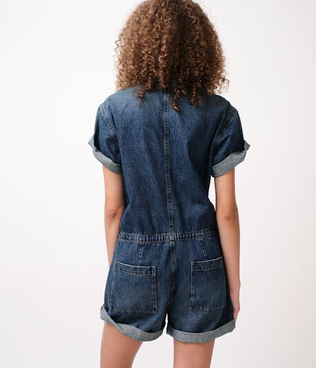 Denim Flight Suit Romper