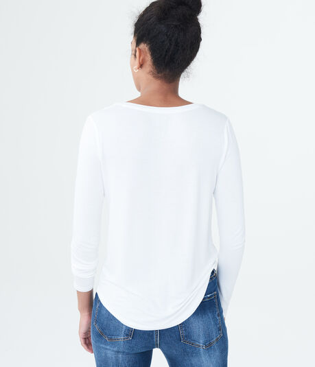 Long Sleeve Seriously Soft Lace Shoulder V-Neck Tee