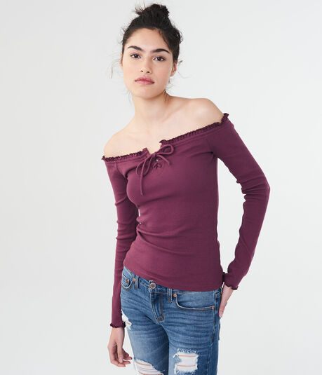 Long Sleeve Solid Lace-Up Off-The-Shoulder Top