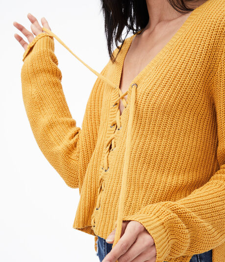 Lace-Up V-Neck Sweater