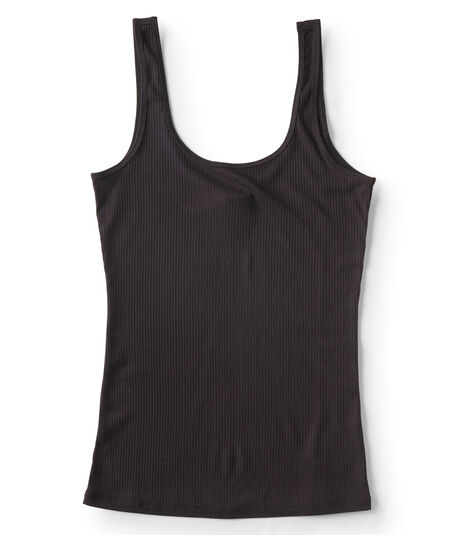 Solid Ribbed Scoop-Neck Tank