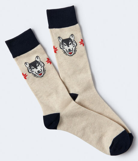 Wolf Flower Crew Socks