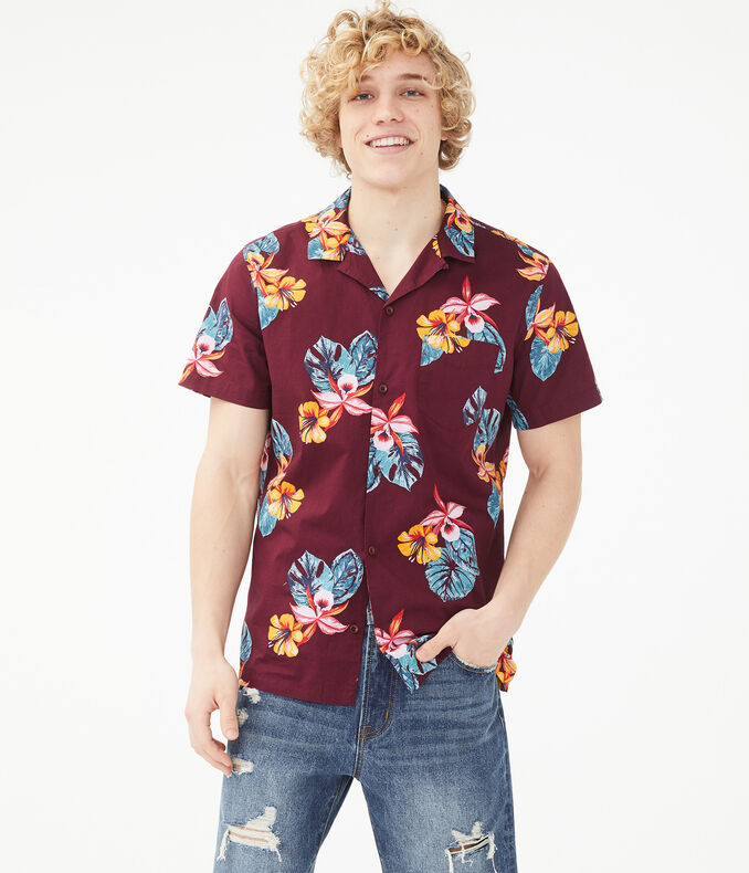 Tropical Flower Button-Down Shirt