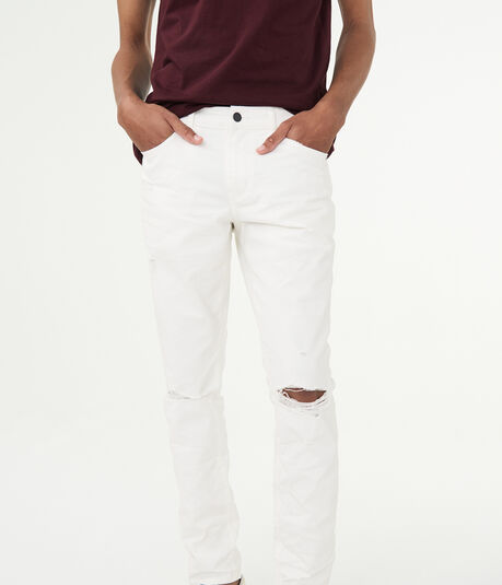Skinny White Wash Destroyed Stretch Jean
